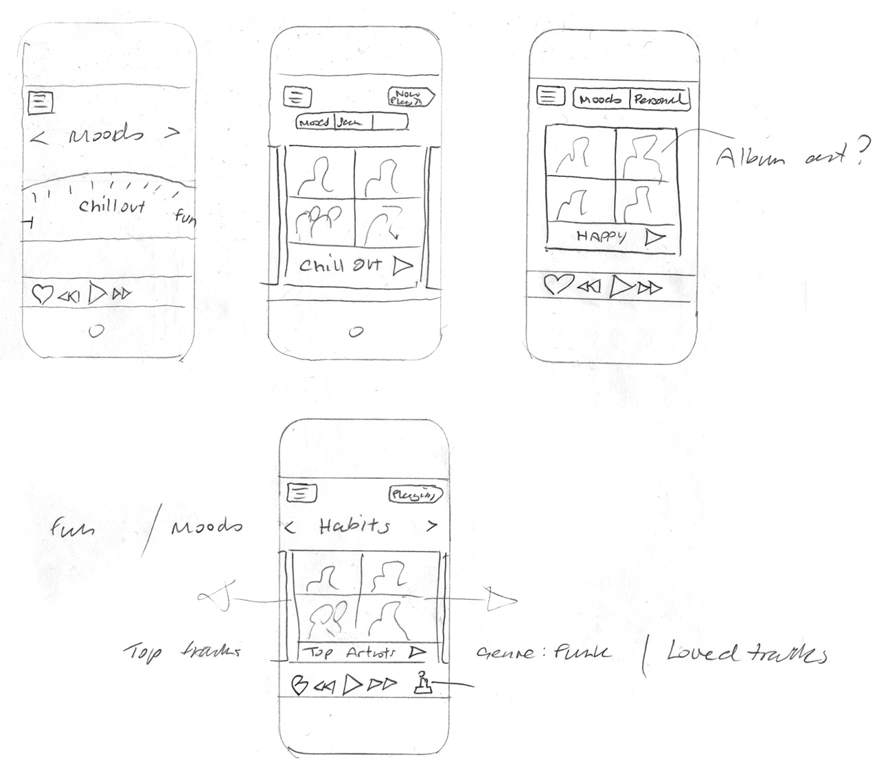 scrobbler tablet mobile music app design sketches